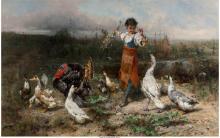 JOHANN TILL (AUSTRIAN, 1827-1894) THE LITTLE GOOSE GIRL OIL ON CANVAS 29-3/4 X 4