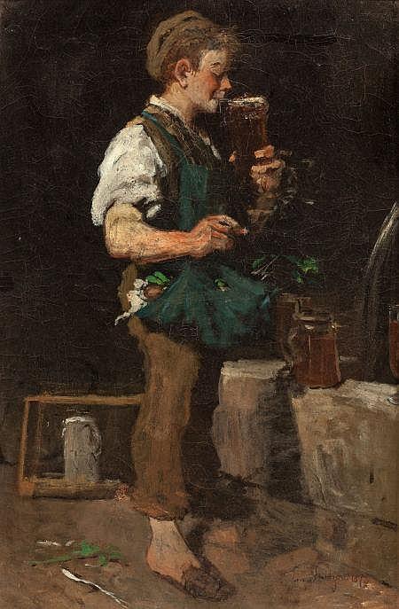 EMMANUEL SPITZER (German, 1844-1919) Taking a Drink (Bo