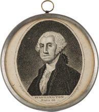 George Washington: Oversize Pewter Rim Mirror. 3 1/4