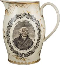 Thomas Jefferson: Impressive Liverpool Creamware Pitche