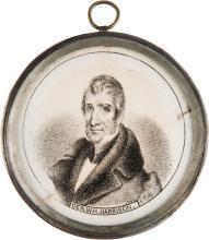 William Henry Harrison: Pewter Rim Mirror. 2 1/2