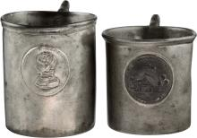William Henry Harrison: Two Rare Pewter Mugs, 1840 Camp