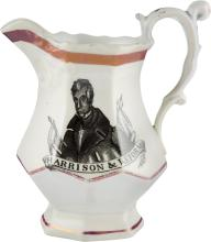 William Henry Harrison: Strawberry Lustre Pitcher. 5 1/
