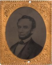 Abraham Lincoln: Oversize Ferrotype Badge. 1 3/8