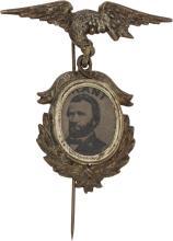 Ulysses S. Grant: Fancy 1872 Ferrotype Stickpin. USG-18