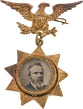 Rutherford B. Hayes: Star Ferrotype Badge. RBH-1876-45,
