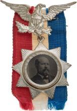 James A. Garfield: Pristine Ferrotype Badge. JG-1880-25