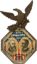 Harrison & Morton: Colorful Large 1888 Jugate Badge. Im