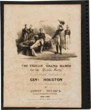 Sam Houston: Rare Sheet Music Dated 1836.