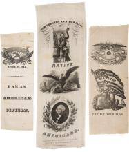 Native American: 1844 Silk Ribbons; A Fine Group of Thr