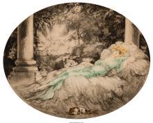 LOUIS ICART (FRENCH, 1888-1950) LA BELLE AU BOIS DORMANT, 1927 ETCHING 14-3/4 X