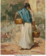 LESLIE WILLIAM LEE (AMERICAN, 1871-1951) RETURN FROM MARKET, 1920 OIL ON CANVAS