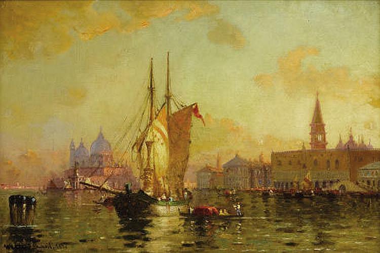 WALTER FRANKLIN LANSIL (American 1846-1933) Sunset