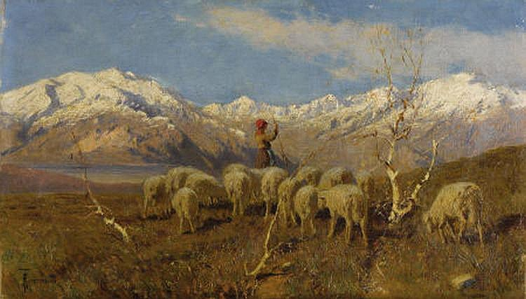 ACHILLE TOMINETTI (Italian 1848-1917) A Herder and
