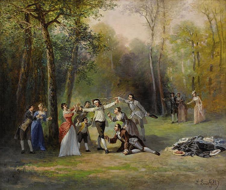 LÉONARD SAURFELT (French b. 1840) Blind Man's