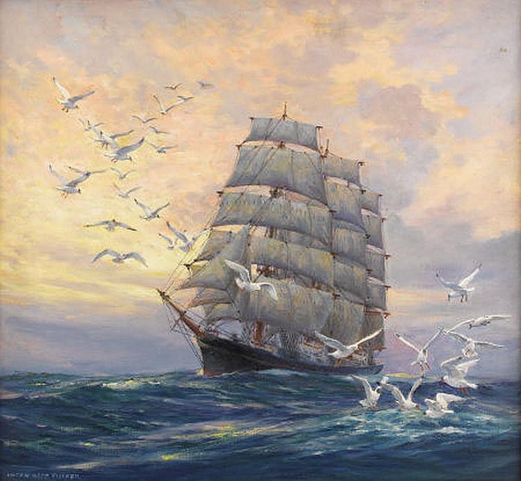 Корабль в море картинка