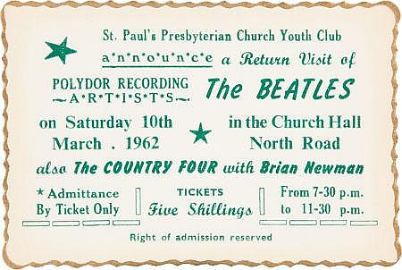 Beatles 1962 St. Paul's Church Performance Ticket.