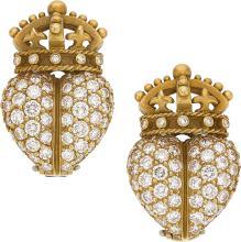 Diamond, Gold Earrings, Kieselstein-Cord  The Crownhear