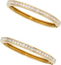 Diamond, Gold Bracelets  The hinged bangles feature squ