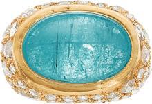 Paraiba Tourmaline, Diamond, Gold Ring, Yossi Harari  T
