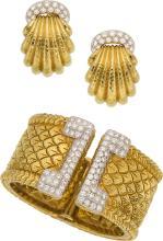 Diamond, Platinum, Gold Jewelry Suite, David Webb  The
