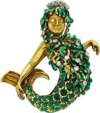 Diamond, Colored Diamond, Enamel, Gold Brooch, David We