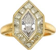 Diamond, Colored Diamond, Gold Ring  The ring features