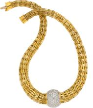 Diamond, Gold Pendant-Necklace  The necklace showcases