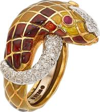 Diamond, Enamel, Gold Ring, David Webb  The ring featur