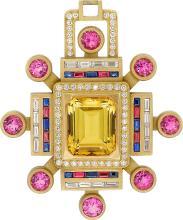 Multi-Stone, Diamond, Gold Pendant, Kieselstein-Cord  T