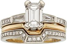Diamond, Gold Ring  The ring features an emerald-cut di