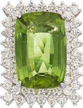 Peridot, Diamond, White Gold Ring  The ring features a