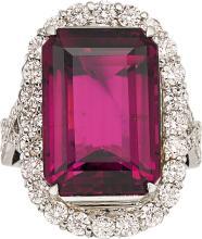 Pink Tourmaline, Diamond, Platinum Ring  The ring featu