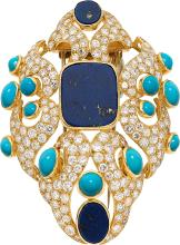 Diamond, Lapis Lazuli, Turquoise, Gold Clip-Brooch, Fre