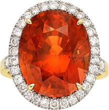 Spessartite Garnet, Diamond, Gold Ring  The ring featur