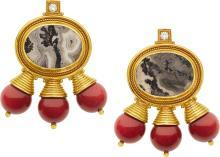 Diamond, Agate, Coral, Gold Earrings, Elizabeth Gage, E