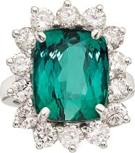 Tourmaline, Diamond, Platinum Ring  The ring features a