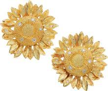 Diamond, Gold Earrings, Asprey  The earrings feature fu