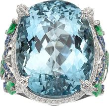 Aquamarine, Diamond, Sapphire, Tsavorite Garnet, White