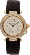 Cartier Gentleman's Diamond, Gold Pasha, Leather Strap