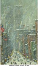 Christopher Willett (American, b. 1959) First Snow, New York City Oil on Masonit