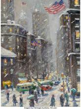 Christopher Willett (American, b. 1959) January Downtown Oil on Masonite 16 x 12