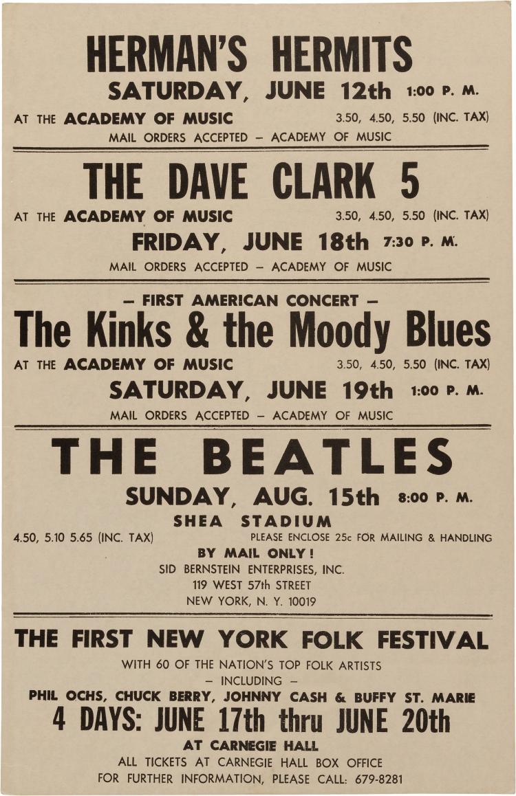 Shea Stadium Vintage Music Concert Poster Print The Beatles