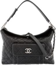 Chanel Black Quilted Caviar Leather Shoulder Bag Excellent Condition 13.5