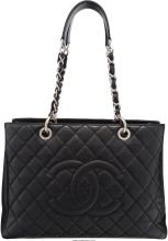 Chanel Black Quilted Caviar Leather Grand Shopping Tote Bag Very Good to Excelle