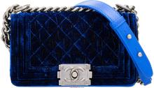 Chanel Blue Quilted Velvet Small Boy Bag Excellent Condition 8