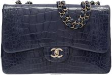 Chanel Shiny Navy Blue Alligator Jumbo Single Flap Bag  Very Good to Excellent C