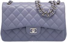 Chanel Lavender Quilted Lambskin Leather Jumbo Double Flap Bag with Silver Hardw