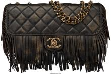Chanel Limited Edition Paris-Dallas Black Quilted Leather Fringe Flap Bag Excell
