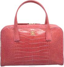 Chanel Shiny Pink Crocodile Bowler Bag Very Good to Excellent Condition 13